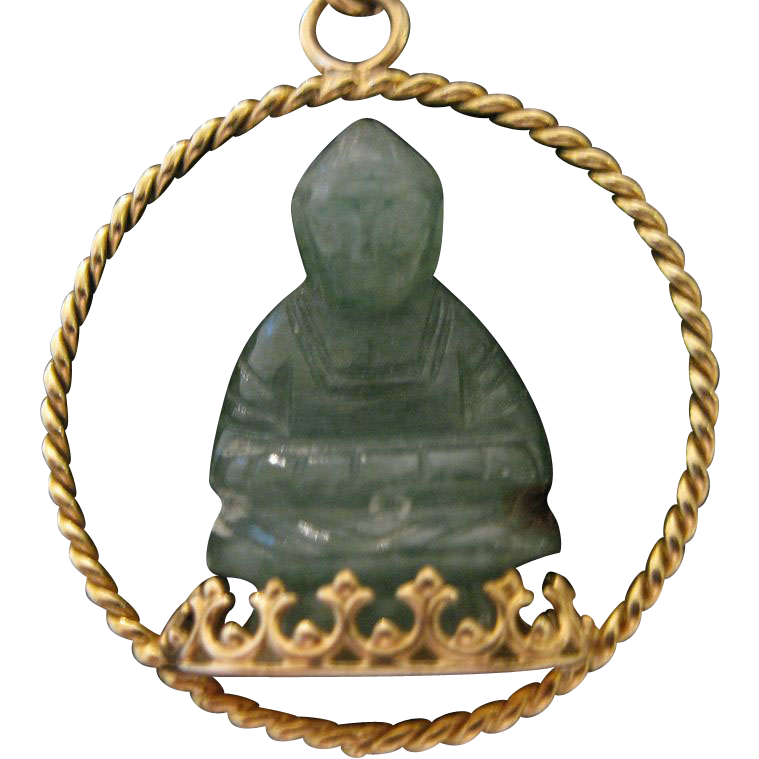 14kt buddha jadeite charm from duchessdigs2 on ruby