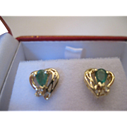 14kt Emerald Diamond Stud Earrings