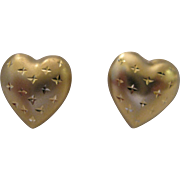 14kt Puffy Heart Stud Earrings