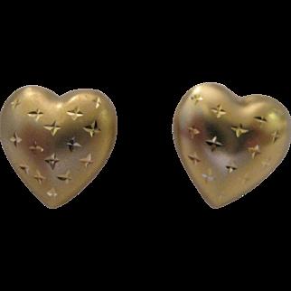 14kt Puffy Heart Stud Earrings