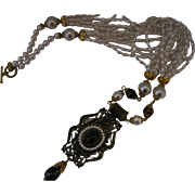 Lawrence Vrba Faux Pearl and Faux Amber Necklace