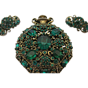 "Hollycraft ""Pocketwatch"" Brooch and Matching Earrings, Circa 1951"