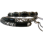 Onyx Marcasite Sterling Bangle Set