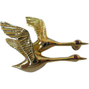 18kt Flying Duck/Geese Pin