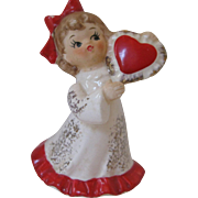 Lefton Girl Holding Valentine