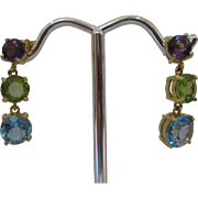 14kt Multi Gemstone Dangle Earrings