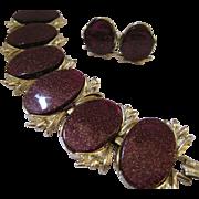 Thermoset Deep Purple Bracelet and Earrings