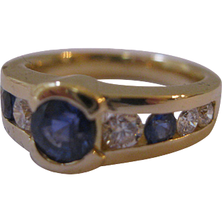 Estate Sapphire Diamond 18kt Ring