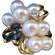14kt Pearl Diamond and Blue Sapphire Spray Cocktail Ring