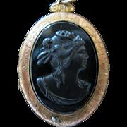 Victorian Black Onyx Brass Locket Pendant