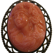 Antique Salmon Coral Cameo