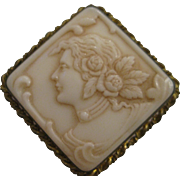 Antique Cream Shell Cameo in Metal