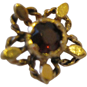 14kt Garnet Flower Stud Earrings