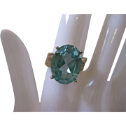 Vintage Blue Topaz Sterling Vermeil Ring