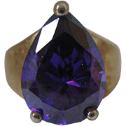 Vintage Amethyst Ring in Sterling Vermeil