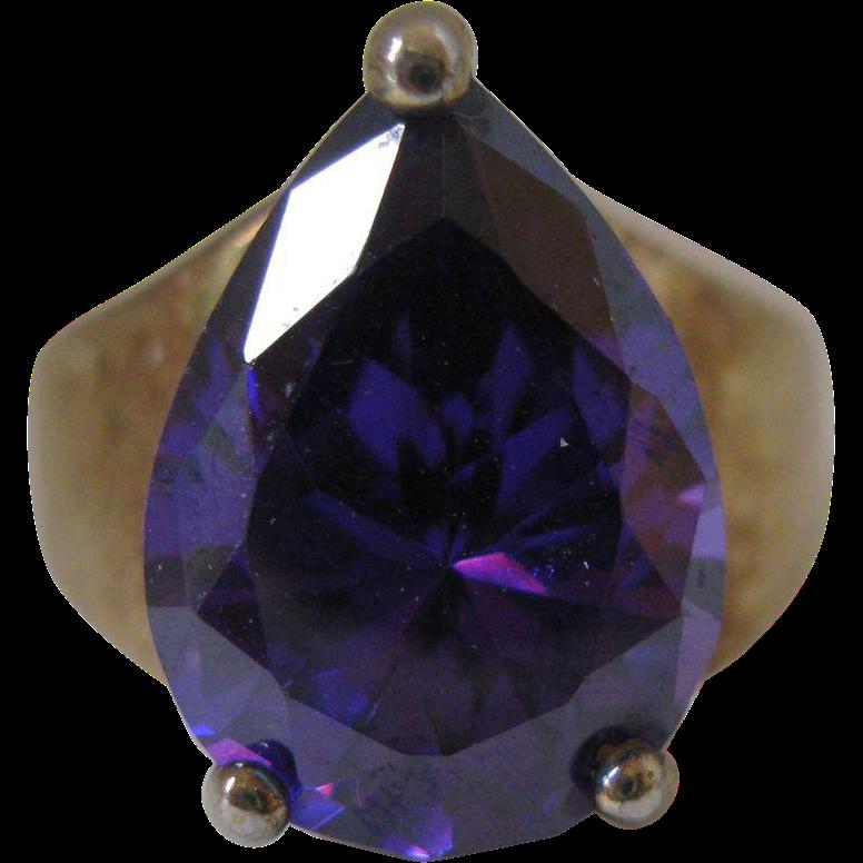 Vintage Amethyst Ring in Sterling Vermeil