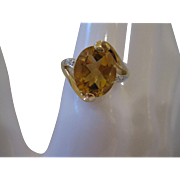 14kt Citrine Diamond Ring
