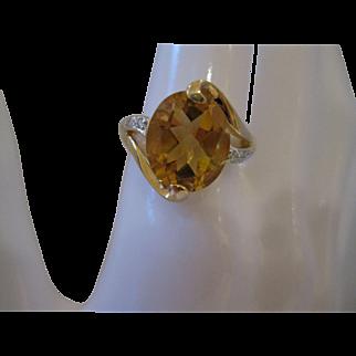 14kt Citrine Diamond Ring