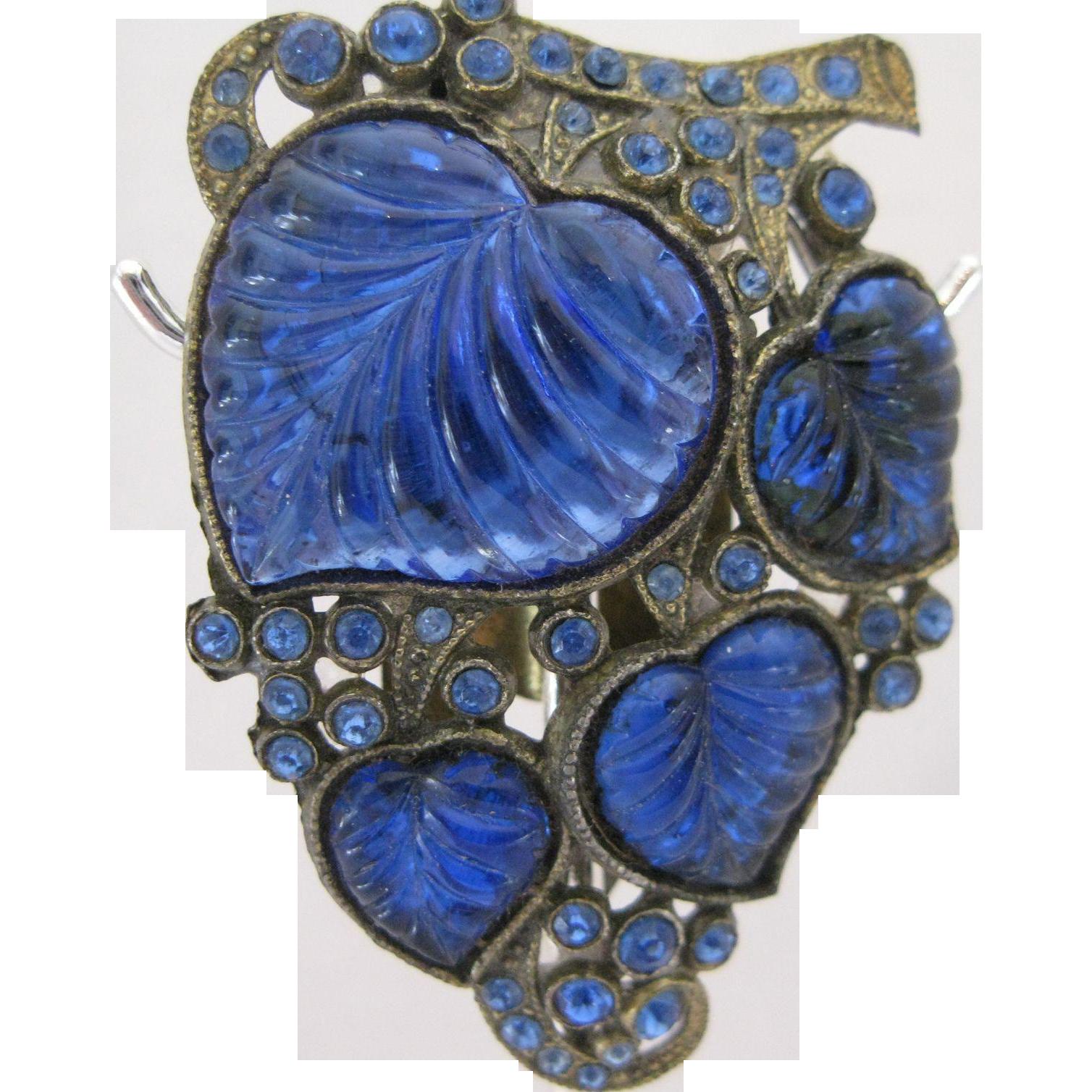 Beautiful Cobalt Blue Glass Dress Clip