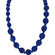 Vintage Royal Blue Crystal Necklace
