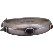 Taxco Sterling Bangle with Semi-precious Stones