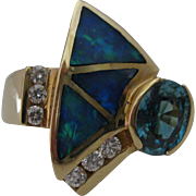 Opal Blue Spinel Diamond14kt Ring