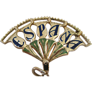 Beautiful Vintage 18kt Enamel Espana Fan Charm