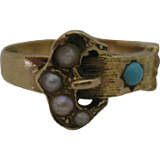 Victorian 14kt Turuqoise Pearl Seed Buckle Ring