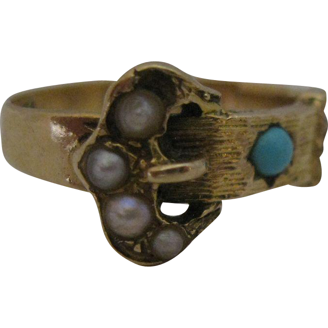 Victorian 14kt Turuqoise Pearl Seed Buckle Ring