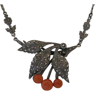 Art Deco Sterling Silver Marcasite and Coral Cherries Necklace