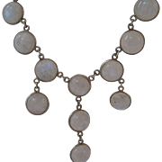 Vintage Sterling Silver Moonstone Festoon Necklace