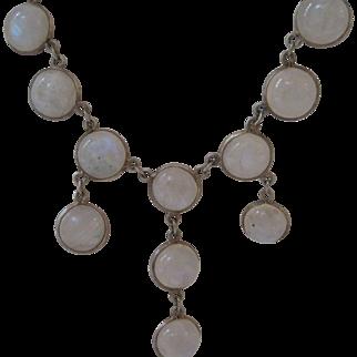 Vintage Sterling Silver Moonstone Festoon Necklace
