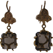 Estate 14kt Smoky Quartz Dangle Earrings