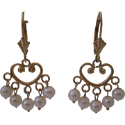 Estate 14kt Cultured Pearl Dangle Earrings