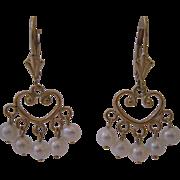 Estate 14kt Cultured Pearl Dangle Earrings