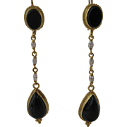 Vintage 14kt Onyx and Diamond Shoulder Earrings