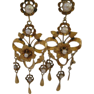 Amazing Antique Victorian 10kt Gold Shoulder Earrings
