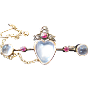 Antique Moonstone and Ruby Sweetheart Bar Pin 15kt Rose Gold