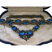 Art Deco Blue Czech Glass Necklace and Bracelet Demi-Parure