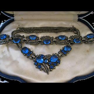 Art Deco Blue Czech Glass Necklace and Bracelet Demi-Parure