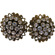 Robert Rhinestone Vintage Clip Earrings