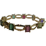 18kt Retro Gemstone Line Bracelet