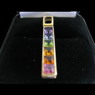 14kt Rainbow Gem Line Pendant