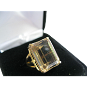 10kt Citrine Emerald Cut Ring