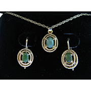 Natural Jadeite Necklace and Earrings Set Vintage