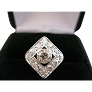 14kt Edwardian White and Champagne Diamond Ring