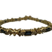 14kt Sapphire and Diamond Line Bracelet