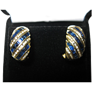 14kt Sapphire Diamond Earrings