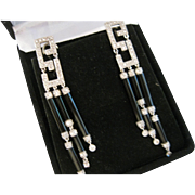 14k Art Deco Style Diamond and Balck Onyx Dangle Earrings