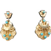 14kt Victorian Revival Etruscan Earrings with Persian Turquoise Accent